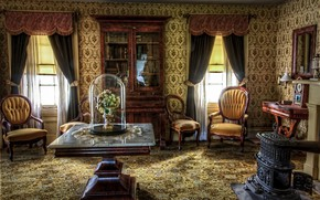 Wallpaper retro, interior, living room, historical, Victorian, antique