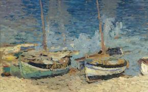 Picture landscape, picture, Henri-Jean Guillaume Martin, Henri Matrin, Boats on the Sand of Collioure