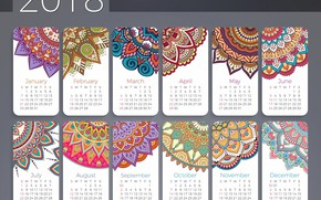 Picture patterns, new year, calendar, 2018