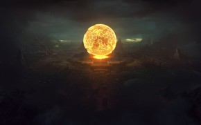 Picture darkness, ball, Planetary small Sun reactor