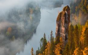Picture autumn, fog, river, rocks