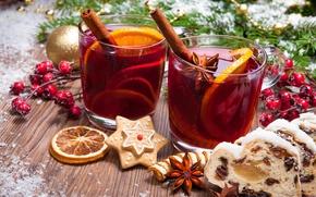 Wallpaper tea, punch, Christmas, cookies, orange, cookies, mulled wine, wine, merry christmas, New Year, decoration
