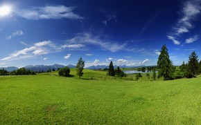 Picture the sky, trees, landscape, nature, lake, blue sky