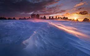 Picture rays, snow, winter, the sun, the sky, clouds, sunset