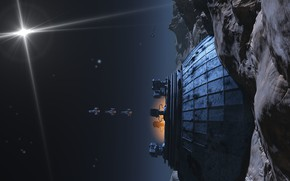 Picture space, stars, camera, departure, Outpost