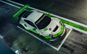 Wallpaper 911, Porsche, racing car, the view from the top, GT3 R, 2019