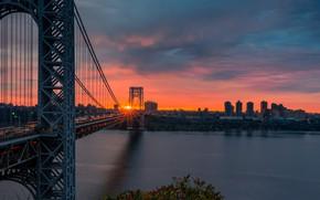 Wallpaper George Washington Bridge, the George Washington bridge, river, sunset, view, Hudson River, New York, road, ...