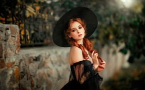 Picture look, girl, pose, portrait, hat, makeup, garden, dress, hairstyle, red, beautiful, curls, in black, bokeh, ...