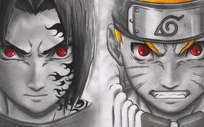 Wallpaper anime, kekkei genkai, Naruto, hitaiate, jinchuuriki, doujutsu, Uzumaki Naruto, Uchiha Sasuke, to themselves d Luffy, ...