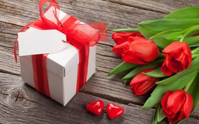 Picture love, flowers, gift, bouquet, hearts, tulips, red, love, wood, flowers, cup, romantic, hearts, tulips, Valentine's ...