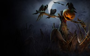 Picture axe, dark, Halloween, moon, night, holiday, pumpkin, scary, scarecrow, spooky, crows, crescent