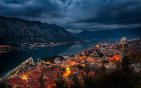 Wallpaper night, Montenegro, lights, Bay, shore, the fjord, home, mountains, Kotor