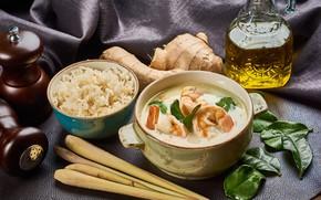Picture soup, figure, shrimp, ginger