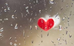 Wallpaper drops, glass, heart