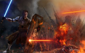 Picture Star Wars, Obi-Wan Kenobi, war, fight, jedi, shield, light saber, Peacekeeper, by thetechromancer