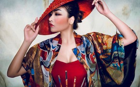 Picture pose, style, model, hat, hands, makeup, Asian