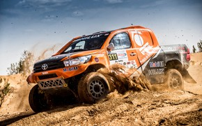 Picture Sand, Auto, Sport, Machine, Race, Orange, Toyota, Hilux, Rally, SUV, Rally, Toyota, Hilux, The roads, …