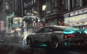 Picture Auto, The city, Machine, Rain, Car, Art, Fiction, Rendering, Harrison Ford, BMW i8, Blade Runner, …