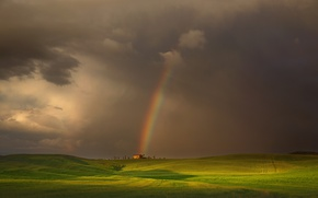 Picture field, the sky, light, house, rainbow