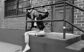 Picture pose, jeans, jacket, blonde, black and white, sitting
