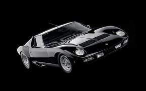 Picture Auto, Black, Lamborghini, Machine, Background, 1971, Lights, Car, Supercar, Lamborghini Miura, P400, SVJ, Lamborghini Miura …