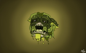 Picture Skull, Green, Paint, Mucus, Palette, Flows, Sad, Narsaid'Work