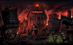 Picture fire, town, statue, burn, plague, Darkest Dungeon