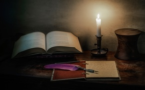 Picture style, pen, candle, book, still life, notebook