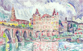 Picture bridge, river, figure, home, watercolor, the urban landscape, Paul Signac, View of Montauban in the …