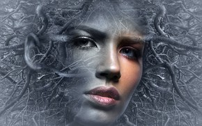 Wallpaper tale, woman, thoughts, fantasy, girl, fantasy, mood, people, surreal, face, fantasy photo, mystical, head