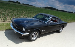 Picture road, auto, the sky, background, black, sport, Ford Mustang, Fastback, classic, 1966