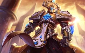 Picture warrior, art, helmet, crystal, art, armor, Zenith, Heroes of Newerth, Apex