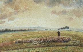 Picture field, nature, picture, meadow, shepherd, Camille Pissarro, Landscape with Flock of Sheep