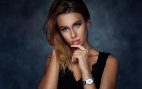 Picture girl, Model, dress, photo, blue eyes, background, lips, face, brunette, clock, portrait, mouth, makeup, lipstick, …
