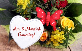 Picture flowers, holiday, bouquet, hearts, March 8, women's day