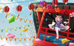 Wallpaper lanterns, girl, neko, flags, flowers