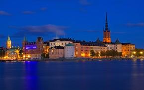 Picture Sweden, Stockholm, home, night, sea, lights