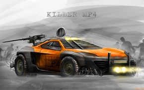 Picture Auto, Figure, Machine, Orange, Apocalypse, Background, Weapons, Car, Armor, Car, Art, Art, Digital Art, Rendering, ...