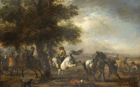 Wallpaper landscape, oil, Philips Bowerman, picture, French Rider, tree