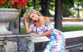 Picture flowers, pose, model, portrait, makeup, figure, dress, hairstyle, blonde, beauty