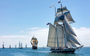 Wallpaper San Diego Bay, CA, schooner, sails, Bay San Diego, Tall Ship Californian, sailboats, Californian, yachts, ...