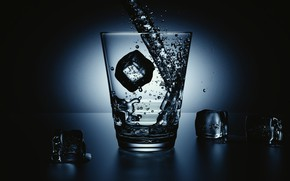 Picture water, glass, ice, jet, Water ad