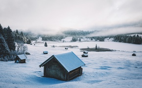 Picture winter, snow, valley, Alps, houses, forest