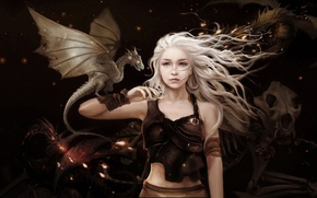 Picture girl, dragon, rose, art, dragon, A song of Ice and Fire, Game of thrones, Daenerys …