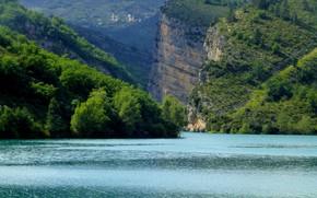 Picture lake, rocks, France, Chaudanne, Castellane