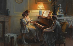 Wallpaper flowers, lamp, oil, the evening, piano, Academism, Dolphin Angola, Singing lesson