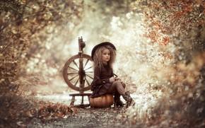 Picture hat, girl, pumpkin, curls, spinning wheel