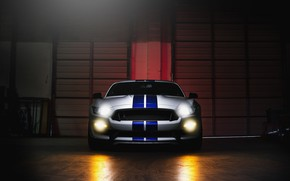 Wallpaper Sight, Mustang, Light, Ford, Front, White, GT500, Shelby