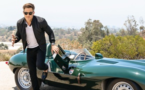 Picture road, auto, the sun, nature, glasses, jacket, t-shirt, shoes, keys, photoshoot, Chris Pine, pants, in …