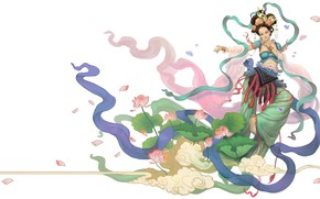 Picture girl, the wind, vector, art, Lotus, fantasy, dancer